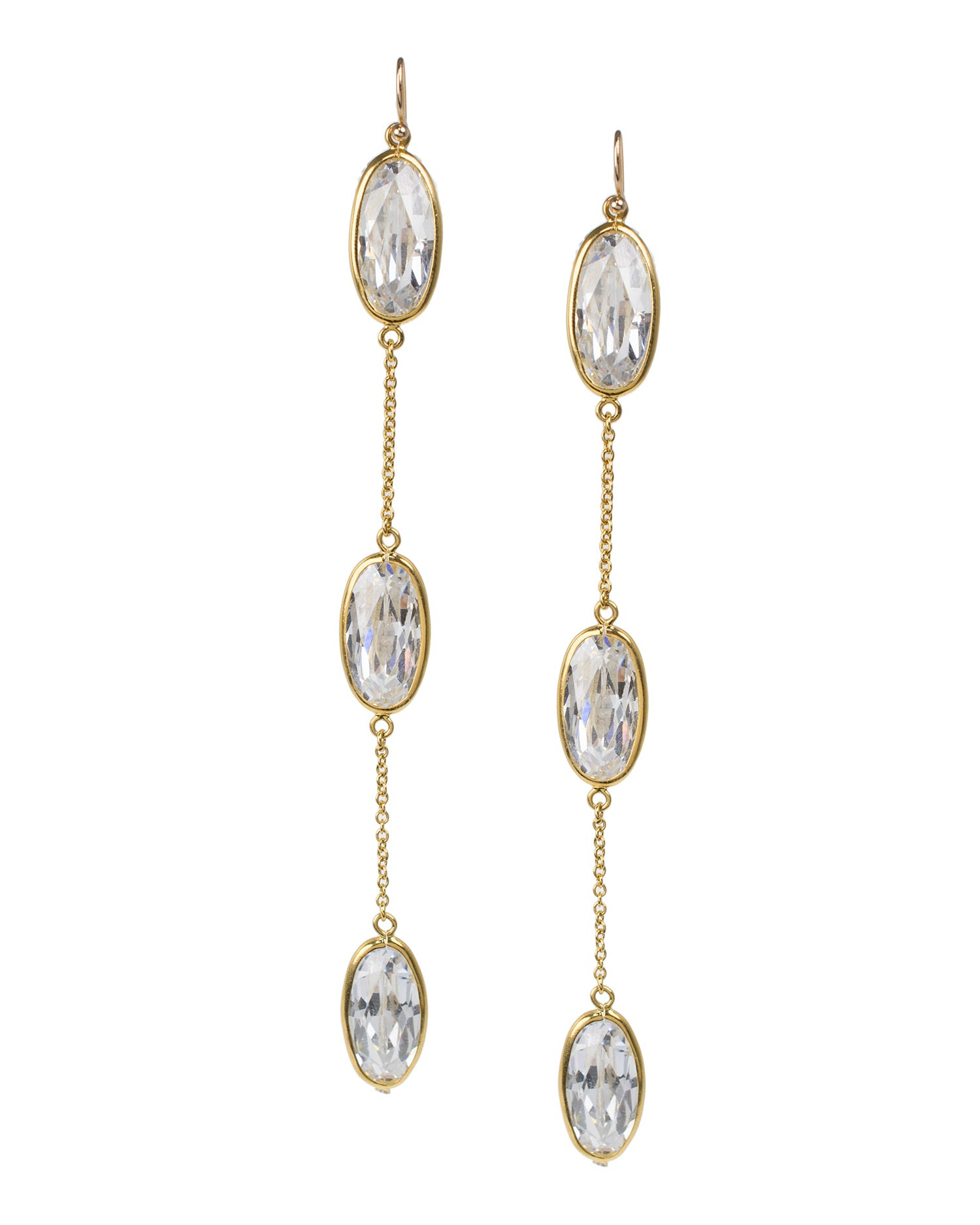 Elongated Oval CZ Drop Earrings