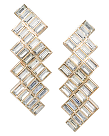 Crystal Baguette Waterfall Earrings