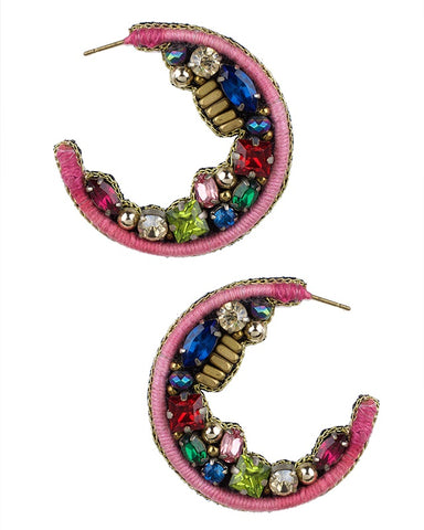 Multi Colored Beaded Hoop Earrings