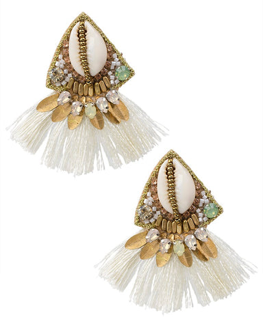 Shell and Fringe Earrings
