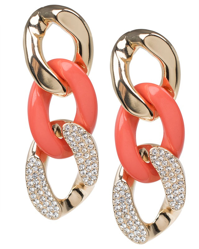 Coral Resin and Crystal Chain Earrings