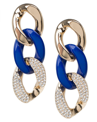 Blue Resin and Crystal Chain Earrings