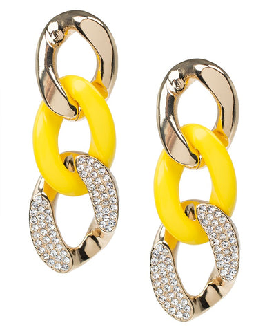 Yellow Resin and Crystal Chain Earrings