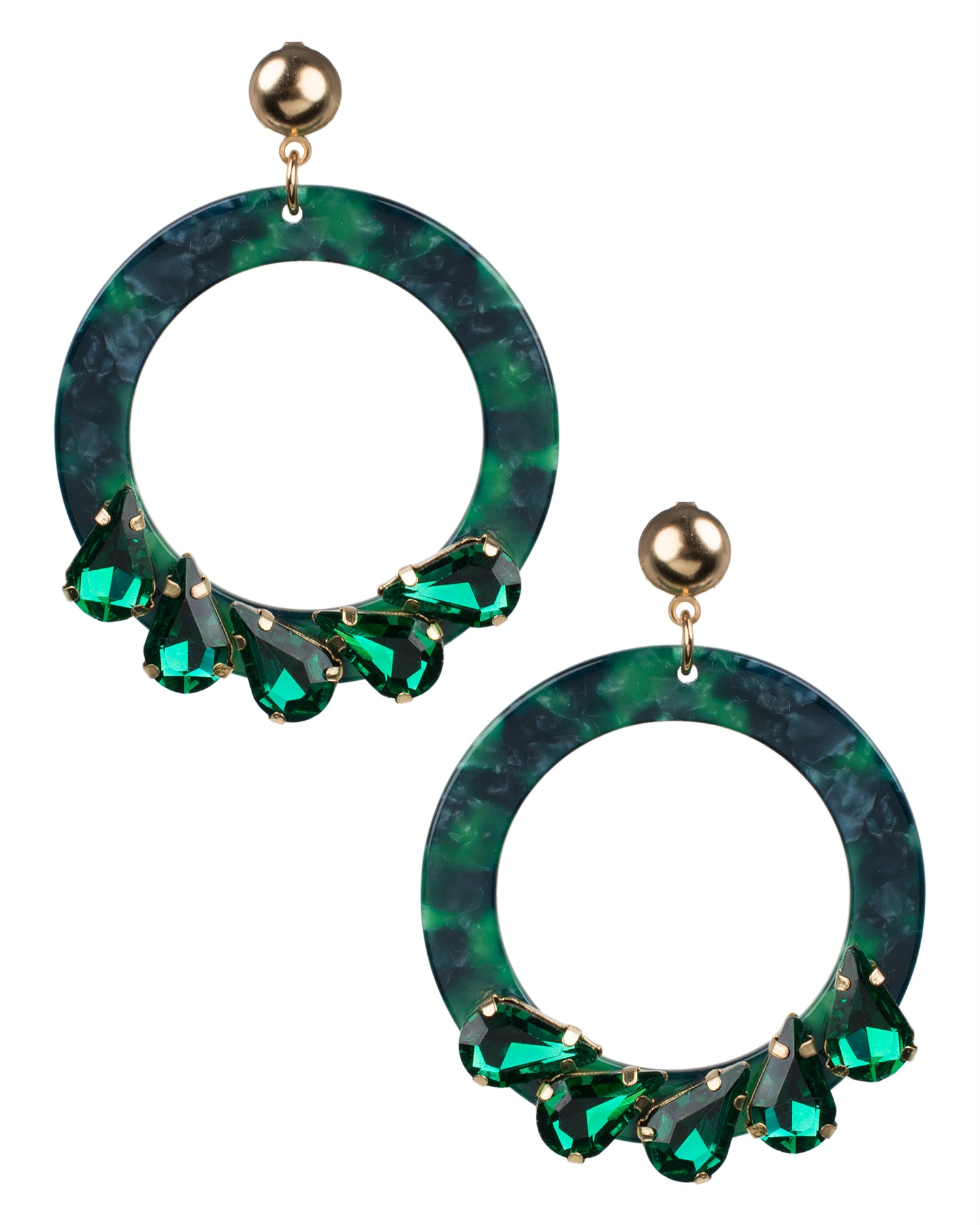 Round Green Marbled Resin Earrings