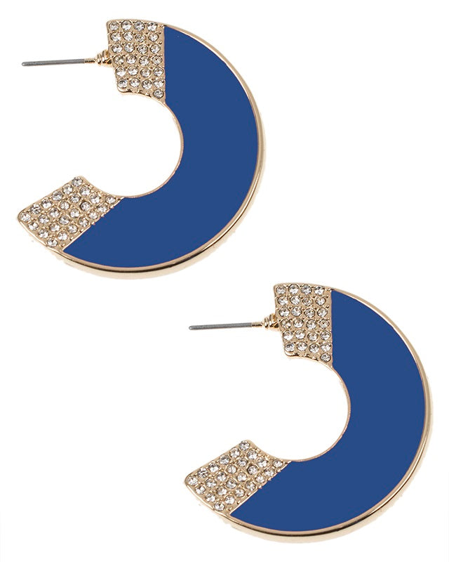 Blue Enamel Crescent Earrings