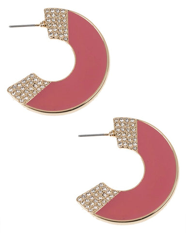 Pink Enamel Crescent Earrings