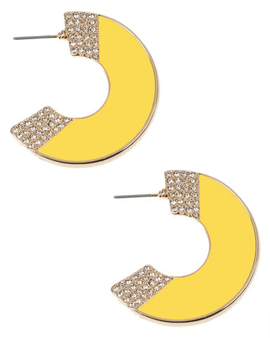 Yellow Enamel Crescent Earrings