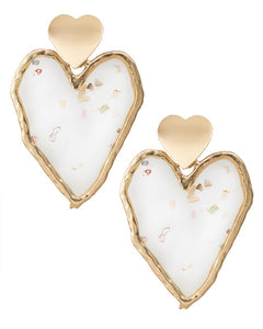 Heart Resin Drop Earrings