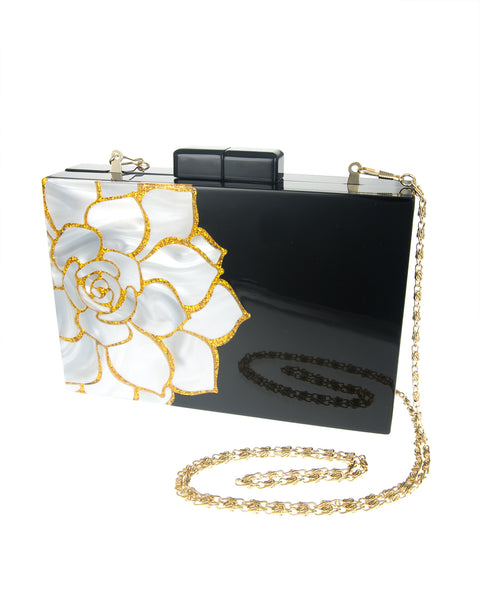 Camelia Flower Resin Clutch