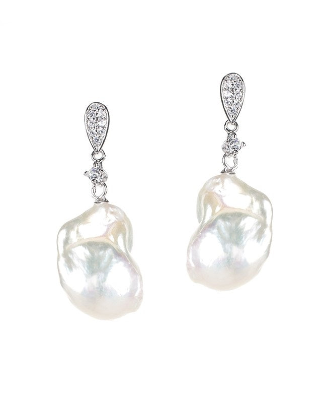 Pearl and CZ Drop Earrings