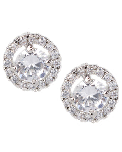 Round Stud Earrings with Halo
