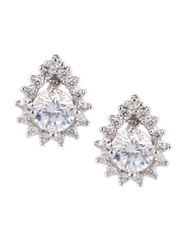 Pear CZ Studs with Halo