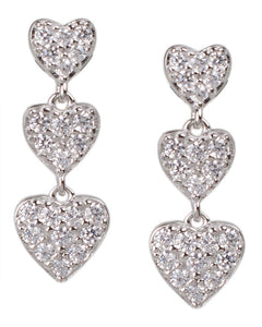 Triple Heart Earrings
