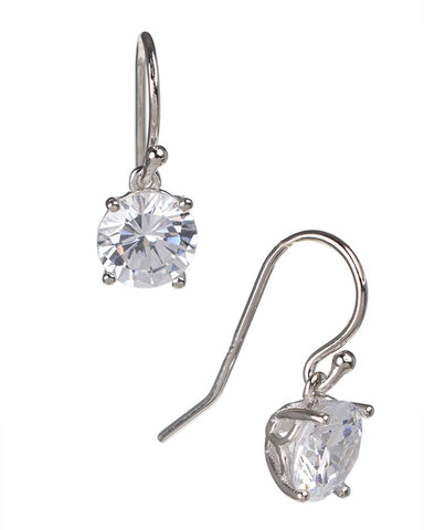 Round CZ Drop Earrings