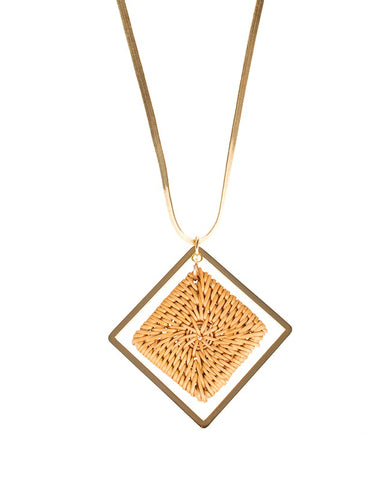 Elongated Square Rattan Pendant