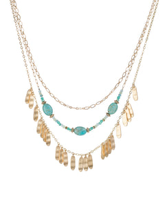 Triple Turquoise and chain necklace
