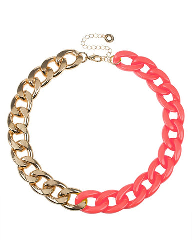 Coral resin and Gold Plated Chain Necklace