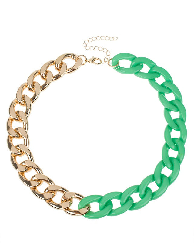 Green resin and Gold Plated Chain Necklace
