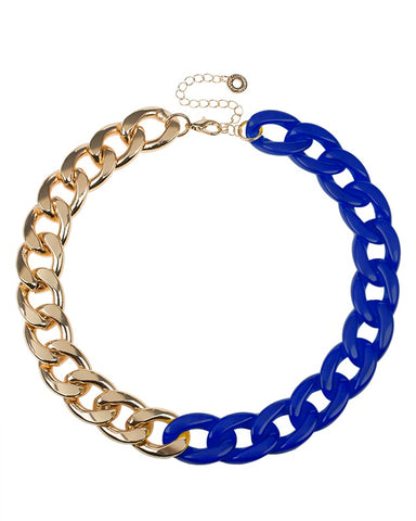 Blue resin and Gold Plated Chain Necklace