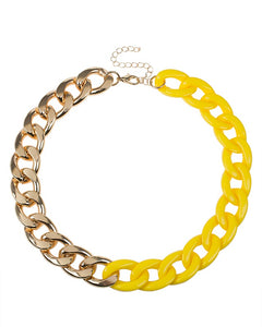 Yellow resin and Gold Plated Chain Necklace
