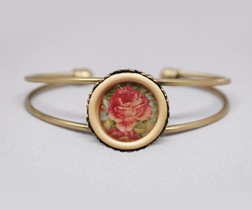 A Rose is a Rose Wood Button Cuff