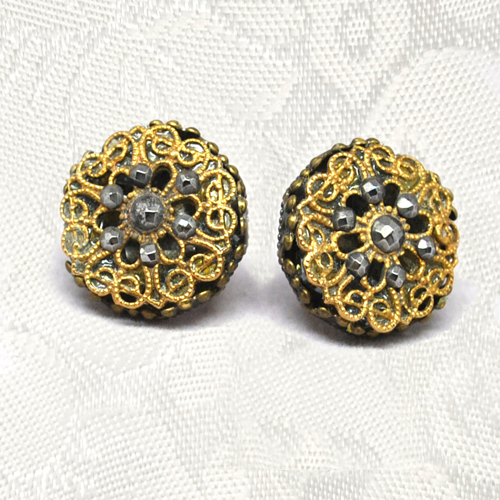 Antique Filigree Button Earrings