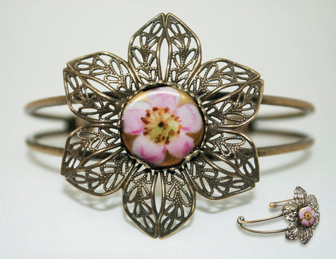 Antique Porcelain Pink Flower Button Bracelet