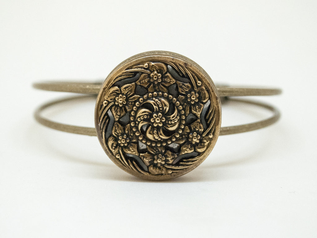 Antique Six Flower Brass Button Bracelet