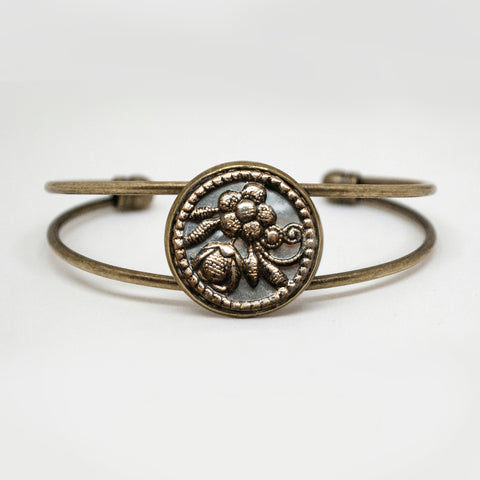 Antique Thistle & Rope Button Cuff Bracelet
