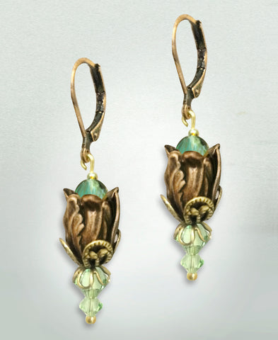Antiqued Tulip Earrings - Bluegreen