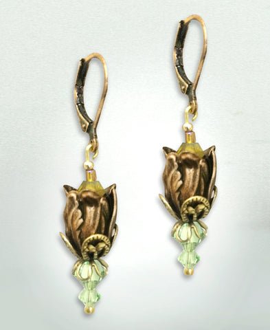 Antiqued Tulip Earrings - Yellow