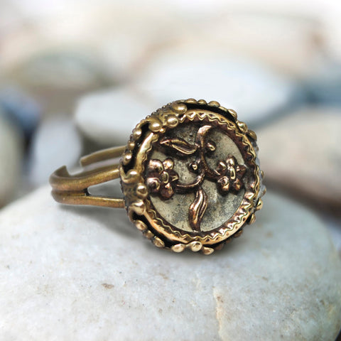 Antiqued Brass Flower Button Ring