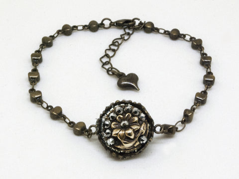 Antique Flower & Steel Cut Button Bracelet