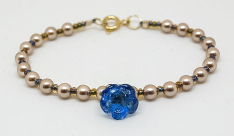 Baby Button Blue Flower Button Bracelet