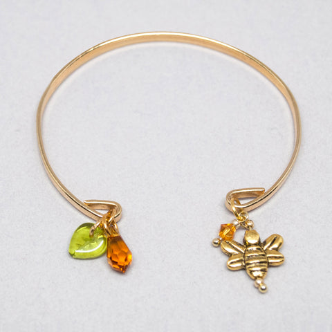 'Bee' gold tone open bracelet with Swarovski crystals