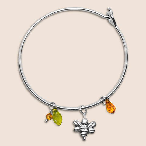 'Bee' silver tone bangle bracelet with Swarovski crystals