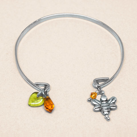 'Bee' silver tone open bracelet with Swarovski crystals