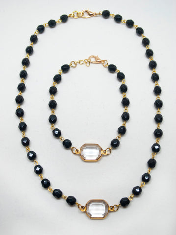 Black Crystal Pendant & Bracelet Set