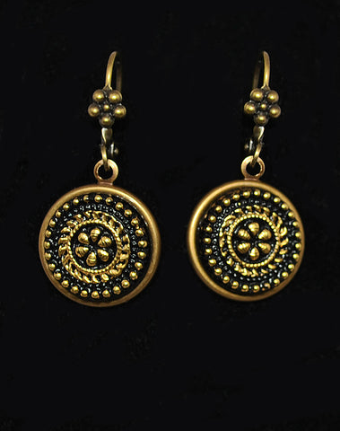 Black & Gold Czech Glass Button Earrings - Beaded