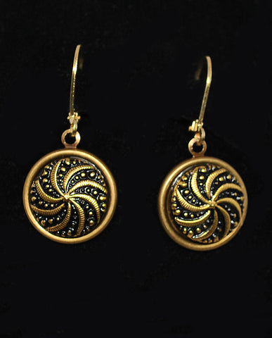 Black & Gold Czech Glass Button Earrings - Pinwheel