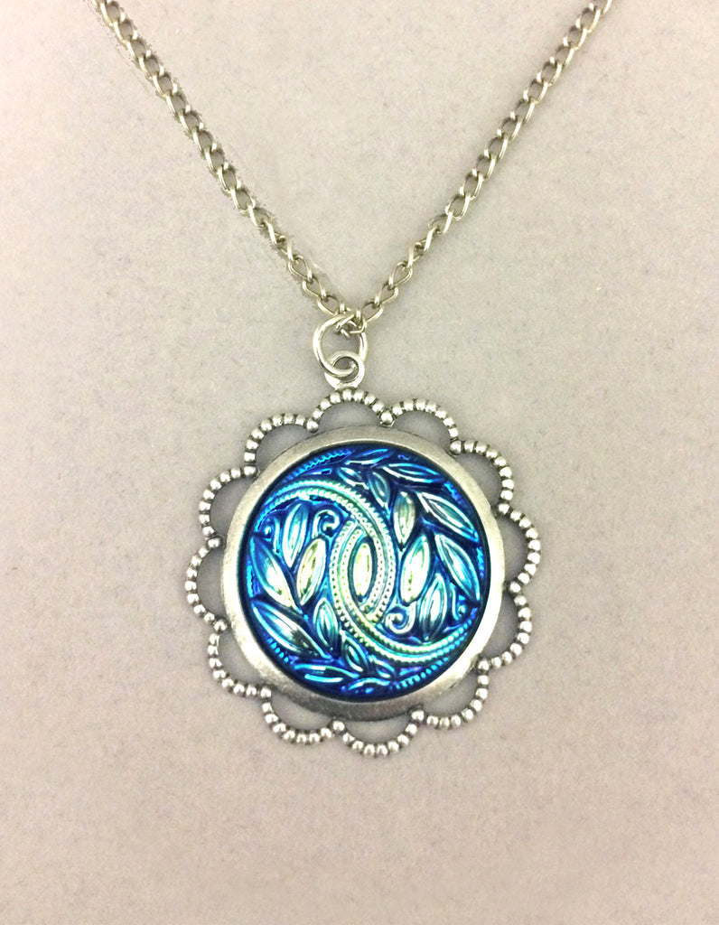 Blue Czech Glass Leaf Button Pendant