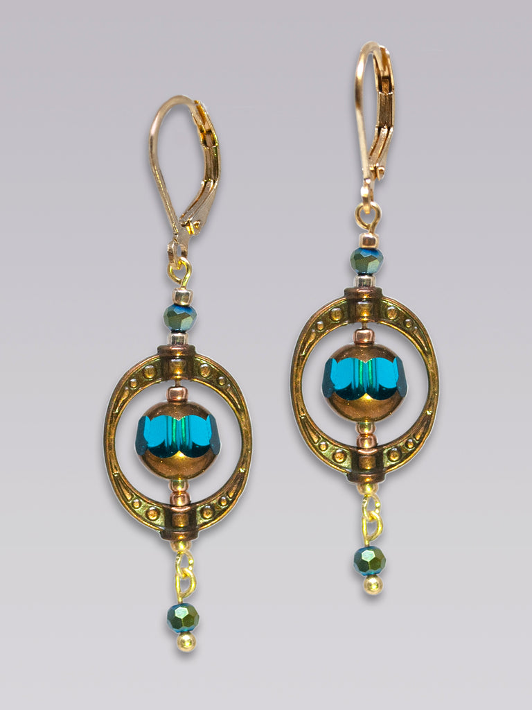 Gold & Teal Faceted Bead Earrings