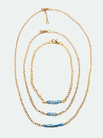 Blue Sparkle Czech Glass Cube Necklace, Bracelet & Anklet_Gold