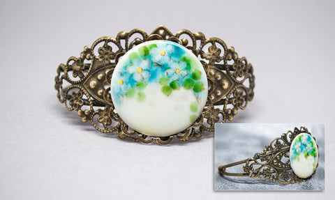 Blue Flowers Porcelain Button Cuff