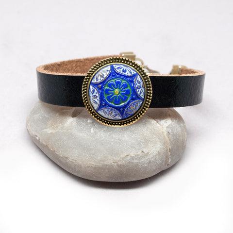 Blue Six Point Star Button Leather Bracelet