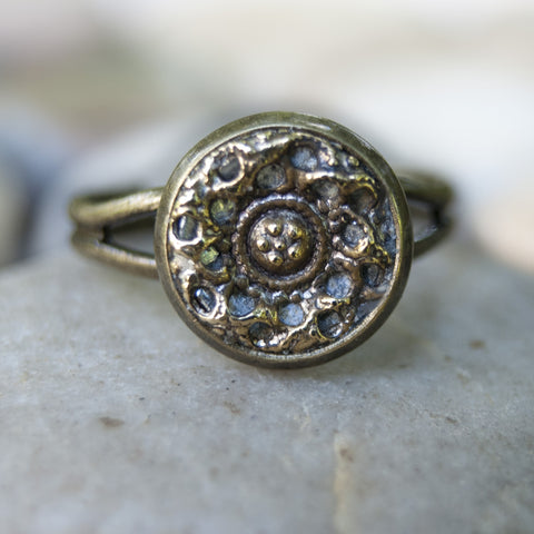 Antique Mirror Back Freeform Button Ring