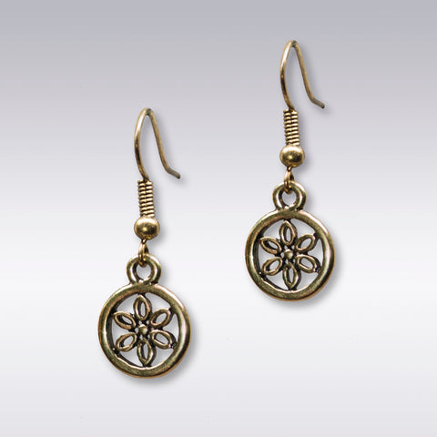 Brass Floral Circle Earrings