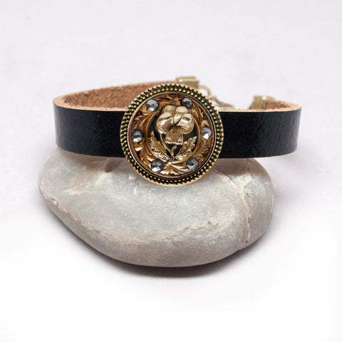 Brass Flower Button Leather Bracelet