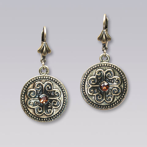 Brass Scrollwork Disk Earrings