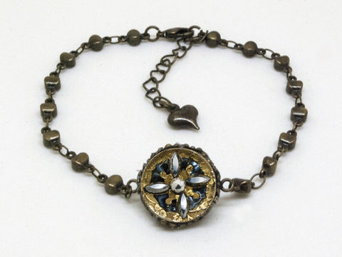 Antique Brass & Steel Cut Flower Design Bracelet
